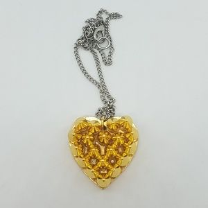 Gold metal spike heart necklace new